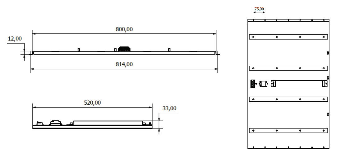 WIRELESS CONTROLLED GEAR TRAY Dimensions